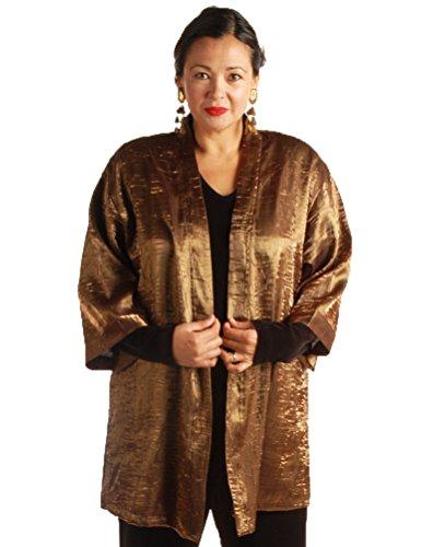 Peggy Lutz Plus Women's Tunic Length Kimono Bronze Crinkle Crash - (30/32)