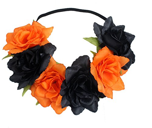 Floral Fall Rose Holiday Christmas Crown Festival Headbands Hippie Flower Headpiece F-53 (Black Orange)