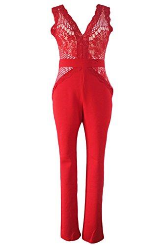 Neue Damen Rot V-Ausschnitt Jumpsuit Catsuit Spielanzug Bodysuit Club Wear Party Sommer tragen Größe M UK 10�?2EU 38�?0