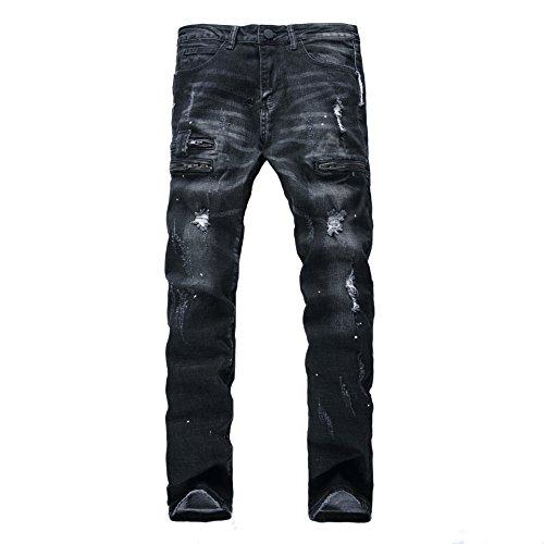 Pantalones Vaqueros Hombre Desgarrar Agujeros Jeans Algodón Pernera Recta Vaqueros Azul,Vaqueros para hombre Straight Fit con estilo desgastado Negro