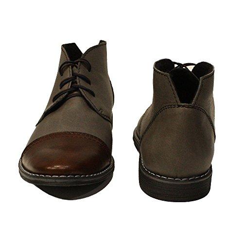 PeppeShoes Modello Boris - Handgemachtes Italienisch Leder Herren Grau Stiefeletten Chukka Stiefel - Rindsleder Weiches Leder - Schnüren