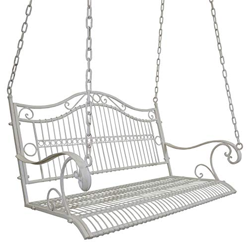 Top_Quality555 White Outdoor Hanging Swing Chair for Porch, Patio, Garden, Deck, Antique Metal Hanging -
