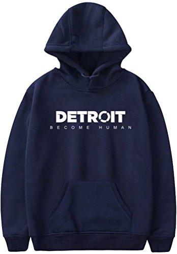 1 3d Di Become Oliphee Uomo Blu Per Sportive Stampa Detroit Con Cappuccio Stampato Felpe Human Scuro wxzTHqZz