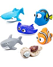 MOOKLIN 6 st flytande badleksaker havsdjur badkar vattenleksaker squirt leksaker badrumstillbehör set för baby barn småbarn dusch och badkar