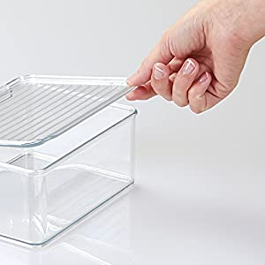 mDesign Stackable Battery Storage Organizer Box, Hinged Lid for AA, AAA, C, D, 9 Volt Sizes, Great Storage for Kitchens, Home Offices, and Utility Rooms - Clear