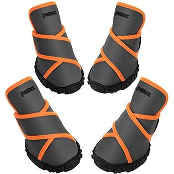 amazoncom bark brite weather neoprene paw protector dog boots reflective straps