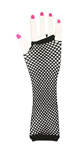 Neon Fish Net Long Arm Sleeve Glove Trendy Fashion Punk Style (Black) (Fish Net Arm Sleeves)