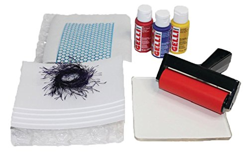 Gelli Arts Stamping & Printing All in One DIY Craft Set with Gel Printing Plate, Premium Acrylic Paint, Roller, Paper, Design Elements and Storage Container- Create Unique Art Prints, Easy Clean Up