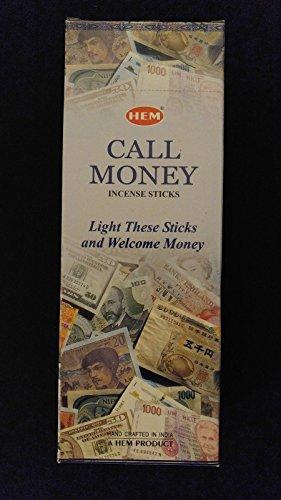 Money Incense Sticks - CALL MONEY 6 Boxes of 20 = 120 HEM Incense Sticks Bulk Case Retail Display Box