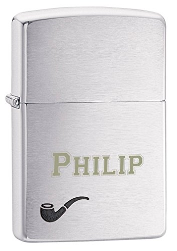 Personalized Zippo Brushed Finish Chrome Pipe Lighter