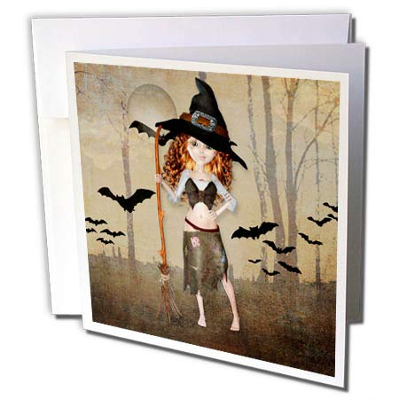 3dRose Doreen Erhardt Halloween Collection - Redheaded Halloween Witch on a Distressed Spooky Bat Background - 12 Greeting Cards with envelopes (gc_294963_2) -