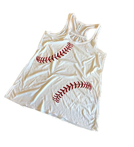 Mom Glitter - Devious Apparel Baseball Softball Red Glitter Stitches Team Mom Tee Printed Flowy Women's Tank Top - Polyester Blend Cover up (XXL, White)