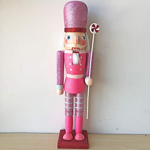 gelvs 45cm Height Sparkly Glitter Pink Wooden Nutcracker Ornament Pink Suit Wood Solider with Candy Bar Home Festival Decoration