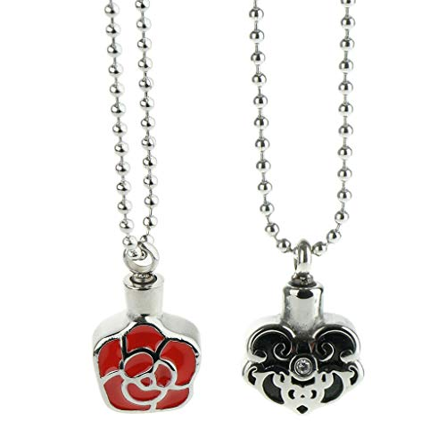 2X Stainless Steel Urn Pendant Necklace Cremation Locket Keepsake Memorial Necklace Jewelry Crafting Key Chain Bracelet Pendants Accessories Best ()