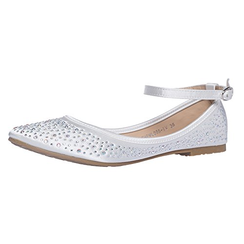 SheSole Women's Ballet Flat Wedding Shoes Ivory US 7