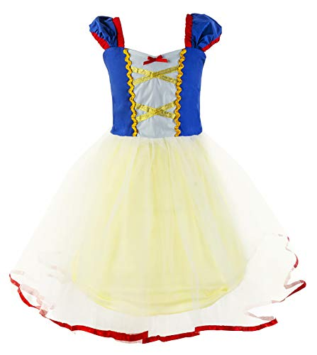 Princess Cinderella Rapunzel Little Mermaid Dress Costume for Baby Toddler Girl (3T, Snow White) -