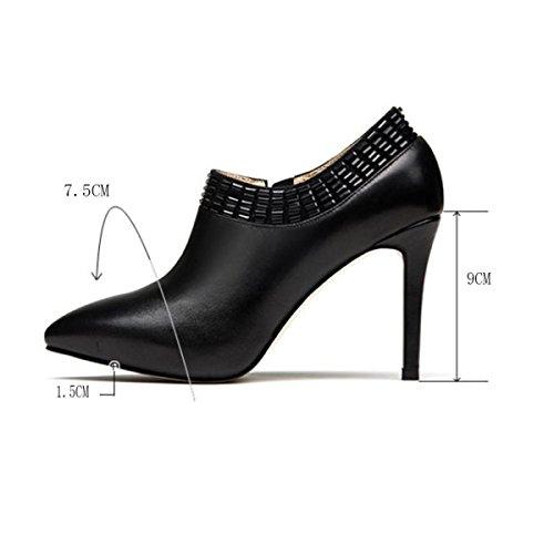 Plate Zipper En Black Fermé De Femmes Mariage Pompes forme Hauts Party Bout Cuir Chaussures Nuptiale Chaussures Talons pwIxqYvx