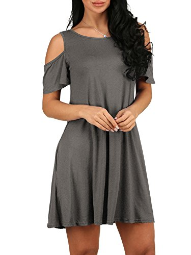 Swing Aecibzo Shirt with Cold Grey T Top Tunic Women's Shoulder Dress Pockets fZwq0Hf