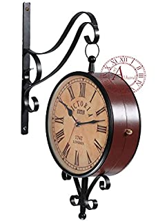 akhandstore 8 inch clock dia vintage analog wall clock double side railway clock metal antique station