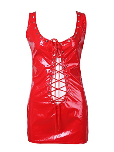 [iiniim Women's Sexy Lingerie Patent Leather Lace-up Mini Dress Clubwear Red One Size] (Leather Lace Up Mini)