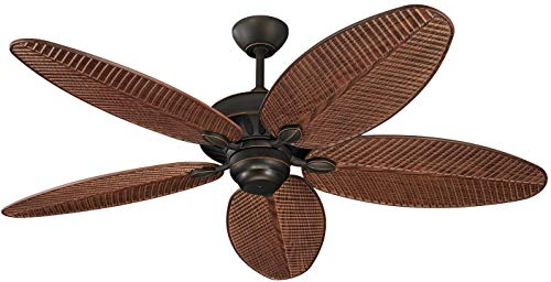 Monte Carlo 5CU52RB Cruise Tropical 52' Outdoor Ceiling Fan, 5 ABS Palm Leaf Blades, Roman Bronze