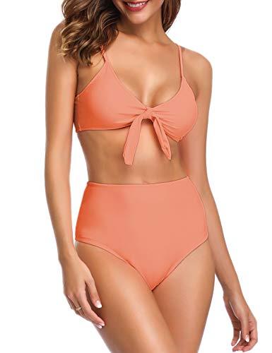 Honlyps Bikini Swimwear Womens High Waisted Two Piece Swimsuit Tie Knot High Cut Bathing Suit for Women Fluorescent Orange