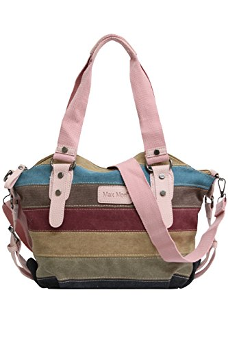 125 Hobo JX Striped Shoulder Shopper Canvas Women's Pink Bag Handbag Bag Multi Color Canvas Bag OwnS7vSxqC