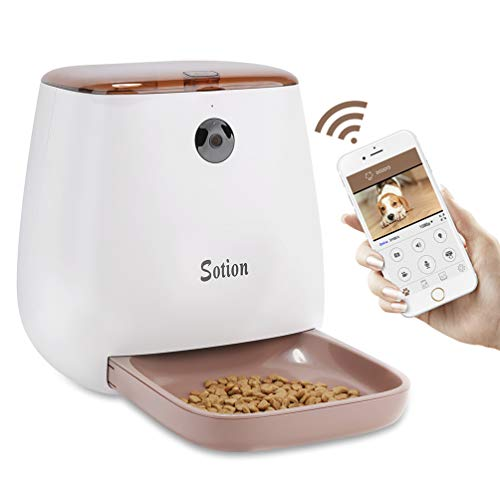 Sotion Automatic Pet Feeder with Camera for Dog and Cat, Smart Auto Feeder via WiFi, 1080P HD Camera with App, Night Vision Dog Feeder, 2-Way Audio, Pet Food Dispenser from Sotion