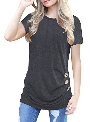 Zajawia Womens Casual Short Sleeve Tunic Tee Tops Button Side Blouse Loose T-Shirt