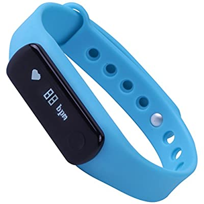 LQM Fitness Tracker Health Done Smart Bracelet Sleep Heart Rate Monitor Bluetooth Touch Screen Pedometer Sport Wristband(Blue)