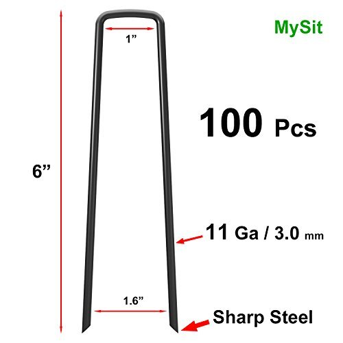 MySit 100x 6-Inch Ground Garden Staples Stakes Pins, Lawn Landscape Staples Weed Fabric Staple, Heavy-Duty 11 Gauge Steel Sod Anchor Securing Pegs(GardenStaples_Blk_100)