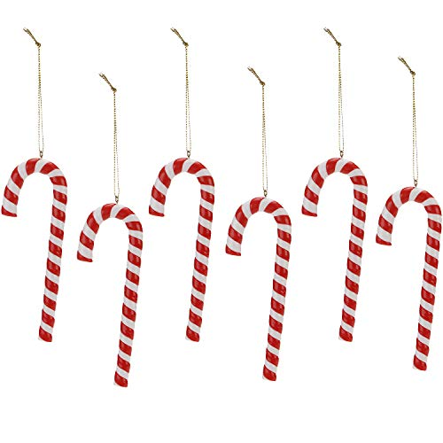 Sea Team Assorted Clay Figurine Ornaments Candy Cane Hanging Charms Christmas Tree Ornament Holiday Decorations, 5.3 inches, Set of 12