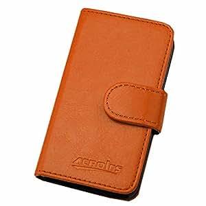 BLU Studio 5.0 C HD Case , BESTSOOP Brand New Leather Case Slim Wallet with Stand Flip Case Credit Card Holder Slots Accessories with 1 Stylus (Dark Yellow)