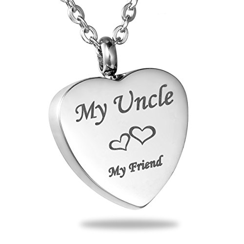 HooAMI My Uncle My Friend Heart Cremation Jewelry Memorial Urn Necklace