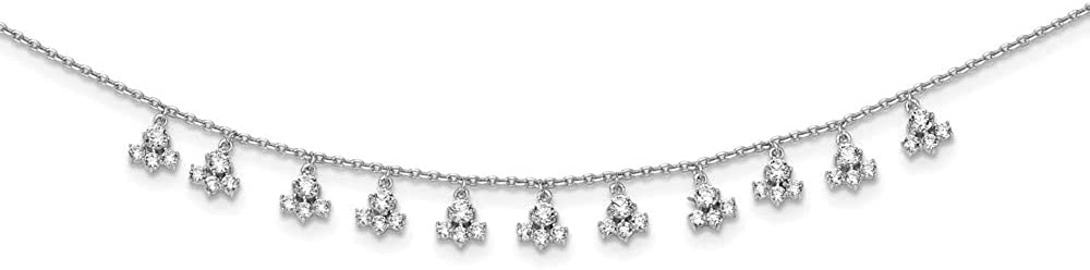 Sterling Silver CZ Cluster Dangles Necklace 18
