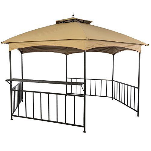 LCH 11ft x 13ft Outdoor Gazebo Hex Soft Top Patio Canopy Shelter, Heavy duty, Commercial with Shelf, Beige