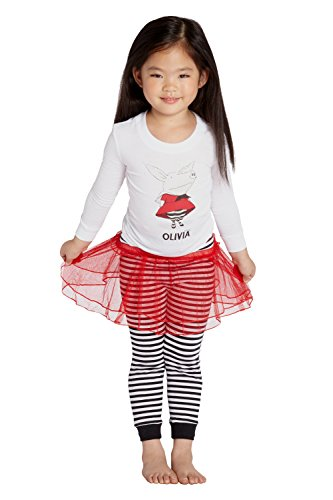 Olivia The Pig Little Girls' Olivia The Pig Toddler Dress up Costume Pajama Set with Tutu, Black, -