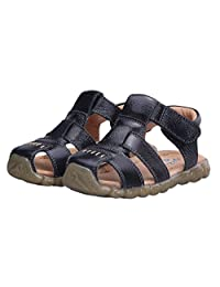 Happy Cherry Baby Boy's Girl's Toddler Cow Leather Non-Slip Closed Toe Soft Sole Casual Sandal Shoes Black
