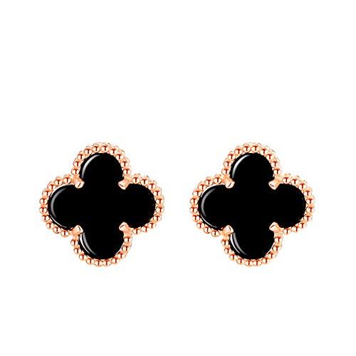 LOVESILVER Lucky Clover Black Agate Stud Earrings Stud Teen Girls - Clover Lucky Earrings