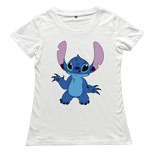 Chocy Women's L & Stitch Animated Science Fiction Comedy-drama Film Classic Tshirts White Size M