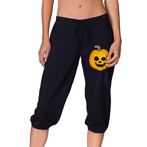 Halloween Evil Pumpkin Summer Casual Capri Pants Elastic Waist Joggers Cropped Trousers For Womens
