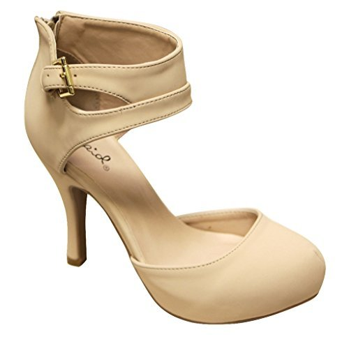 Qupid Trench-244 Women's Round Toe High Heel Zip Closure Buckle Ankle Straps Nubuck ()