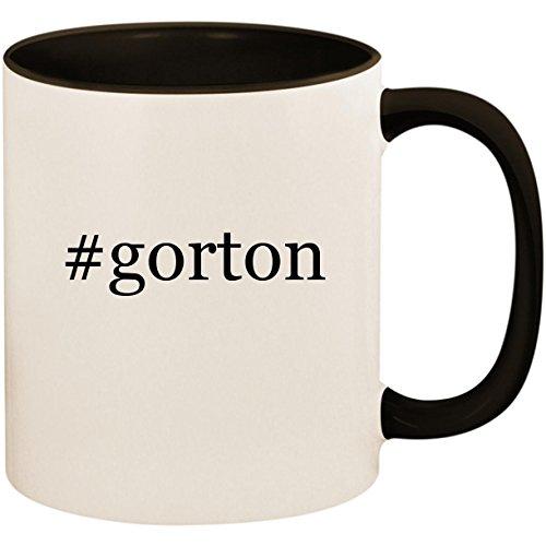 Black Vapor Clam - #gorton - 11oz Ceramic Colored Inside and Handle Coffee Mug Cup, Black