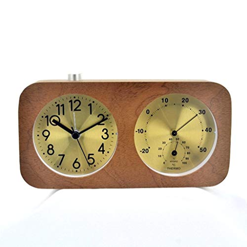 - ZGP % Table Clocks for Living Room Decor Bedroom Double Sided Desk Clock Battery Operated Analog Alarm Clock Heavy Sleepers Snooze Non-Ticking Silent Temperature & Humidity Solid Wood Rectang