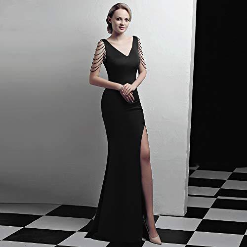 Soirée Femmes Longueur Élégantes V Black Pure L'hôte Cjjc Robes Sexy Couleur Dames Parti Bal Slim Robe De Pour En Longues Plancher Col Les wxA4qx0v
