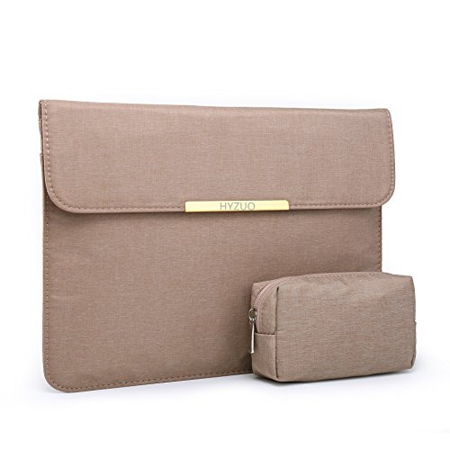 """HYZUO Chiffon Fabric 13 Inch Waterproof Laptop Sleeve Protective Case for 13"""" New MacBook Pro Retina 2017 2016/Microsoft Surface Pro 2017/Pro 4/3/ Dell XPS 13 with Carrying Bag, 13"""" Khaki"""