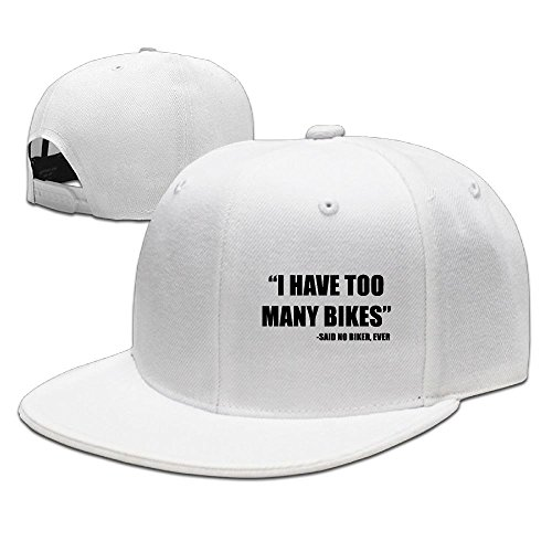 Too Many Bikes Said No Biker, Ever Funny Jogging White Hat Adjustable Snapback (Hot Wheels Bmx)