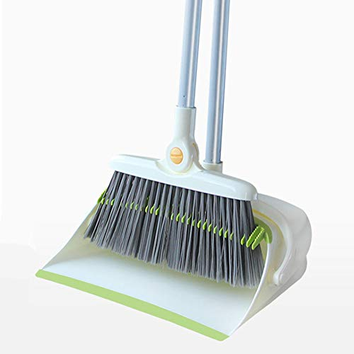 Indoor Long Handle Dustpan And Brush Set - Universal Swivel Windproof Broom - Household Soft Hair With Toothed Broom Dustpan - Suitable For Lobby, Shop, Garage, School, Church - White ()