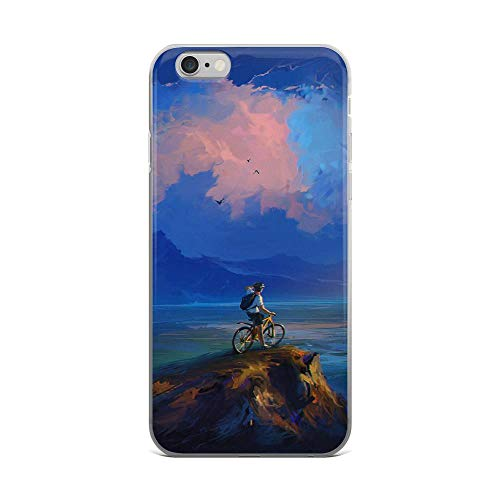 iPhone 6 Plus/6s Plus Pure Clear Case Cases Cover Cyclist Rock Cliff Art Clouds Sea