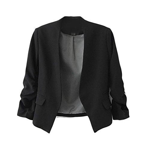 SYTX Women¡Äs Stylish Puff Sleeve Blazer Jacket Long Sleeve Suit Outwear Black ()